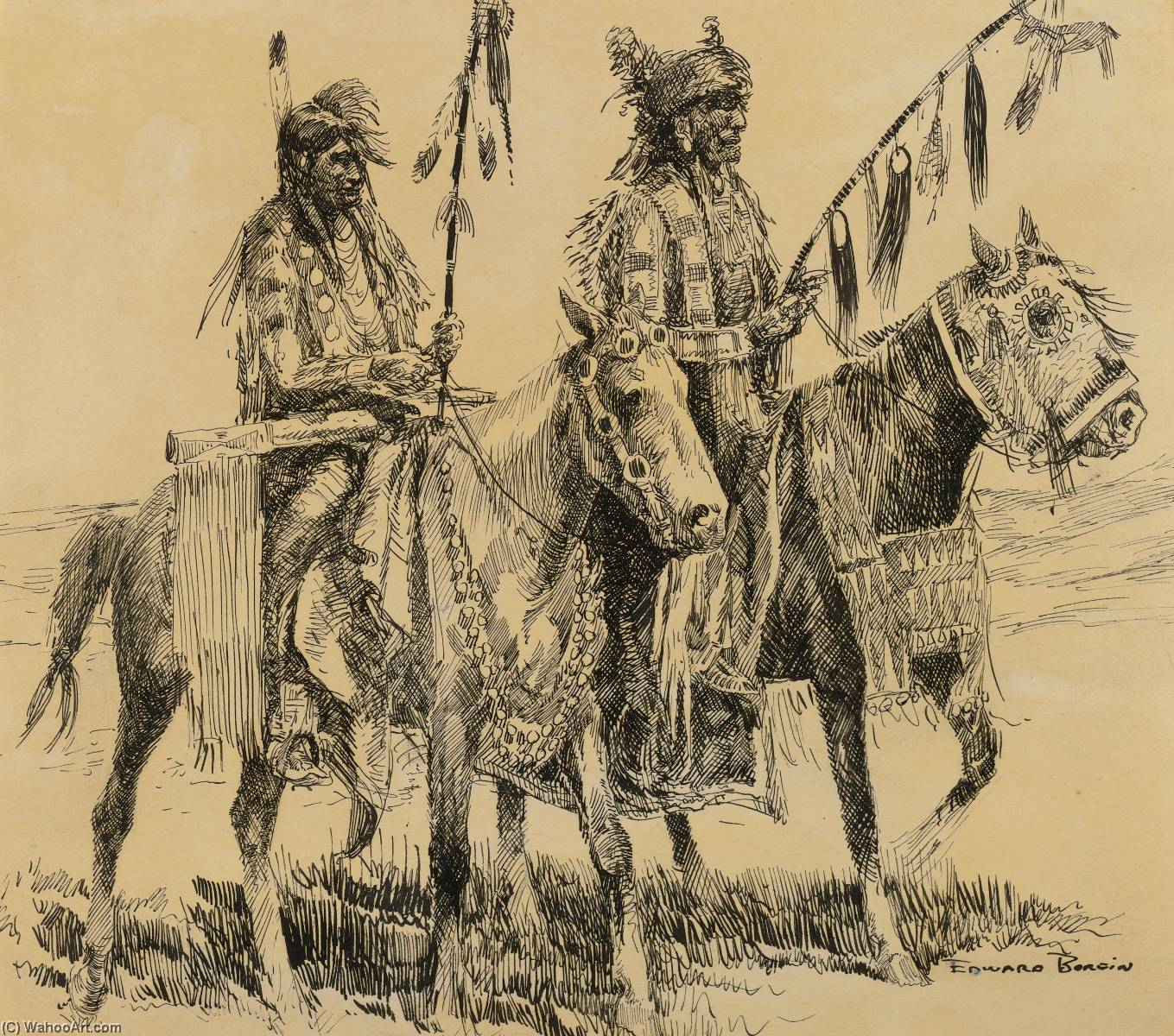 Going to the Pow Wow, Ink by Edward Borein