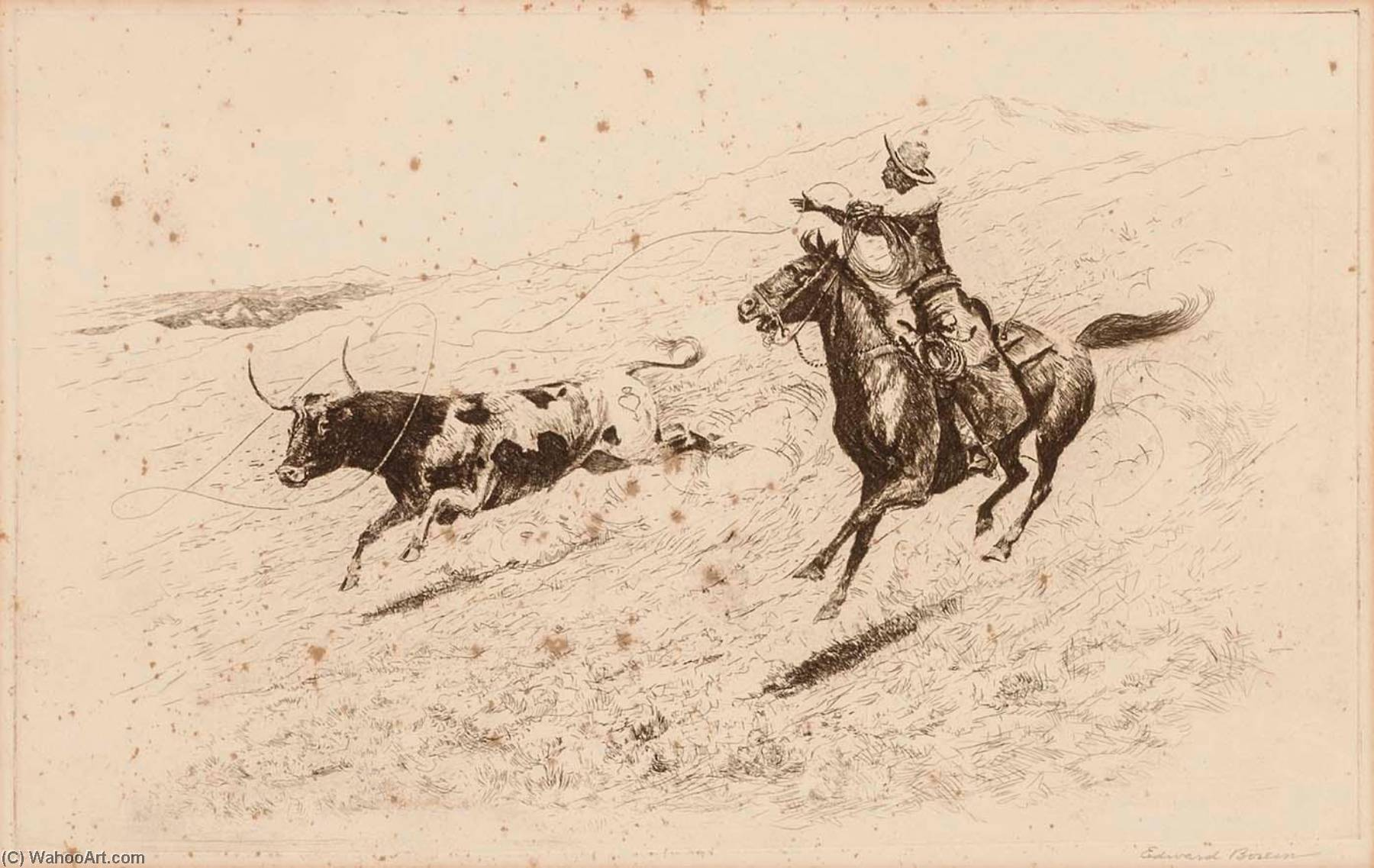End of the Race (The Long Throw), Paper by Edward Borein