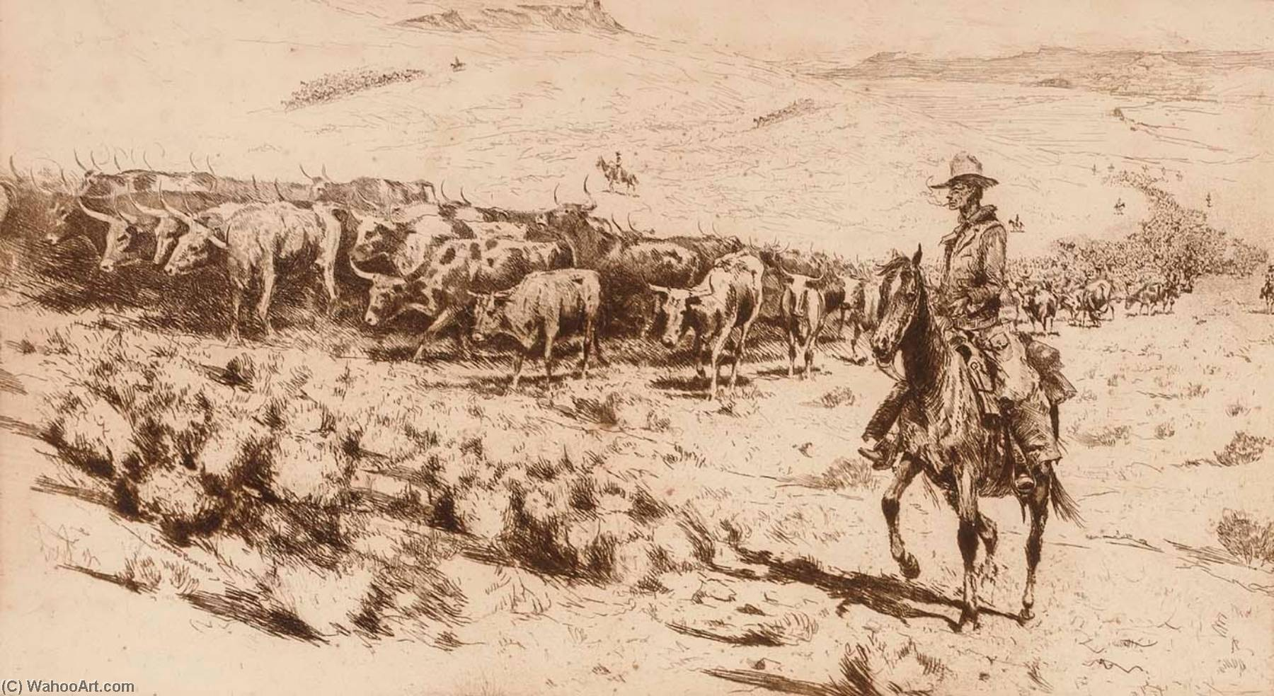 Trail Herd (no. 2), Paper by Edward Borein