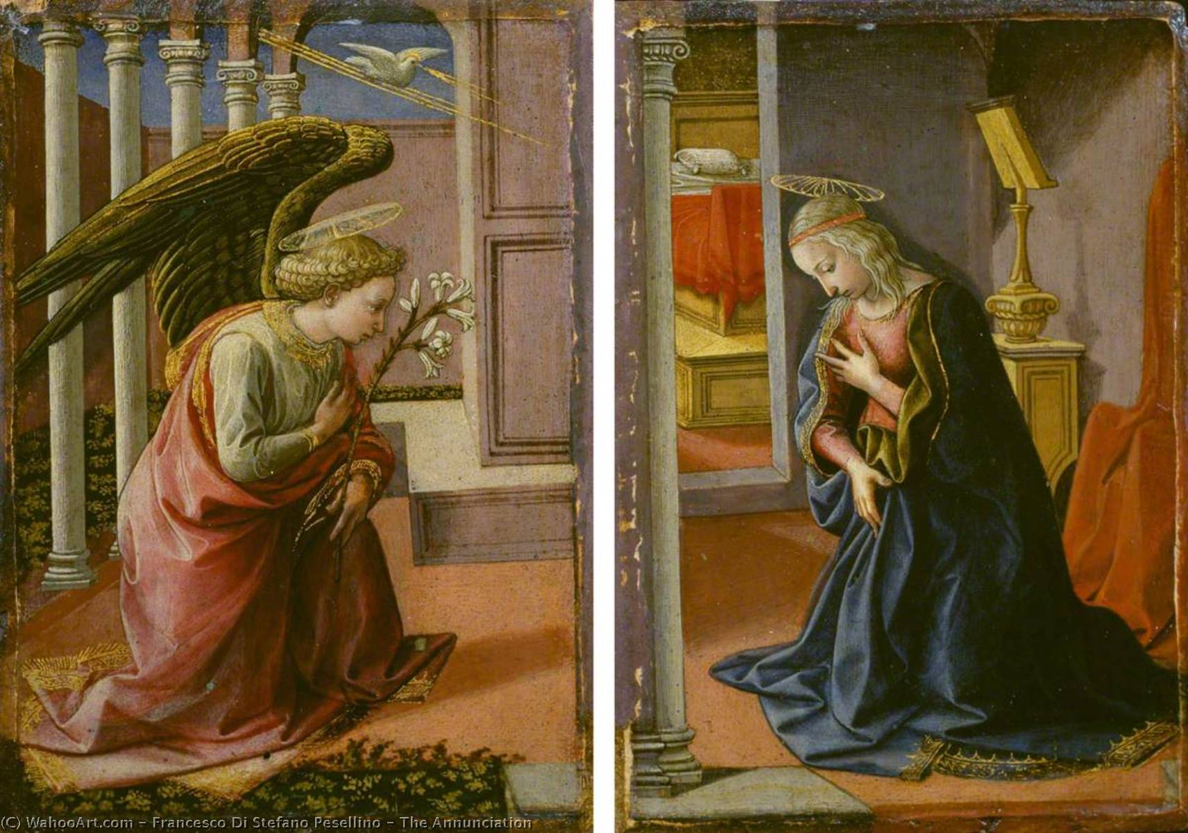 The Annunciation, 1455 by Francesco Di Stefano Pesellino (1422-1457) | Oil Painting | WahooArt.com