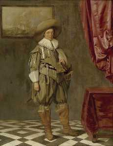 Pieter Jacobs Codde - Portrait of a young Man standing