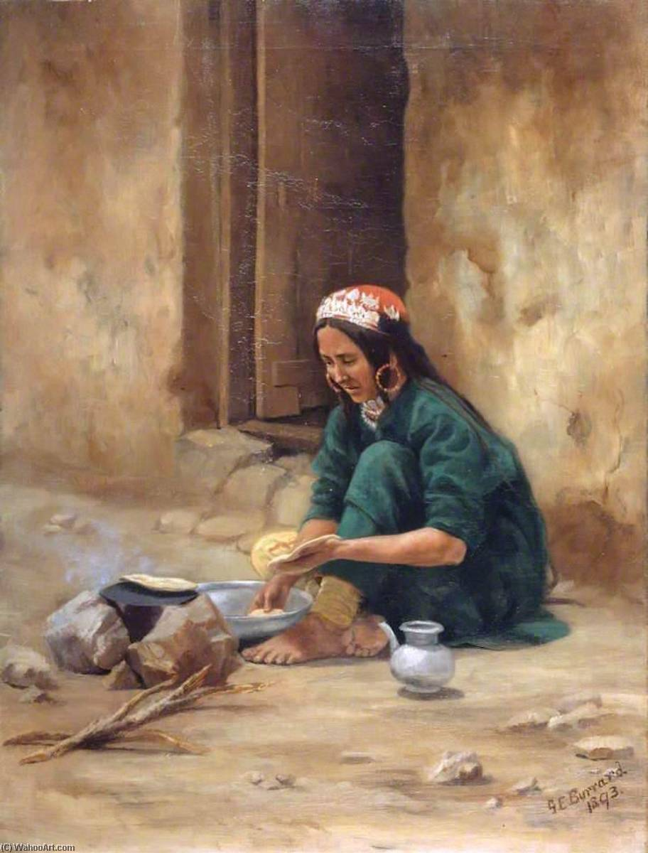 A Hill Woman from Ladakh, Cooking Her Food, Oil On Canvas by Gertrude Ellen Burrard
