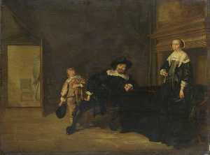 Pieter Jacobs Codde - Portrait of a Man, a Woman and a Boy in a Room