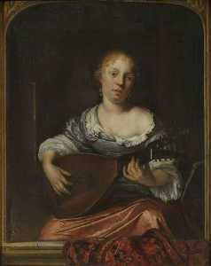 Eglon Van Der Neer - A Young Lady Playing the Lute