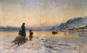 Frithjof Smith Hald - Winter Day by the Fjord