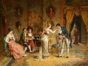 Franz Von Persoglia - Gallant Scene in the Rococo Interior