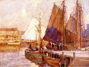 Order Reproductions | Harbor Scene by Frederick John Mulhaupt | WahooArt.com
