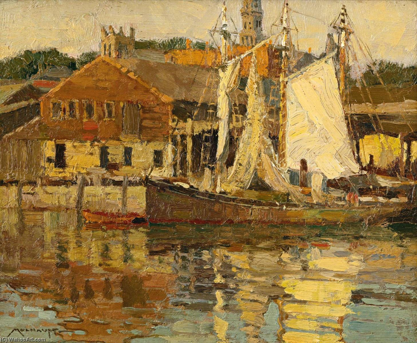 Atlantis Wharf, Gloucester, Massachusetts by Frederick John Mulhaupt | Reproductions Frederick John Mulhaupt | WahooArt.com