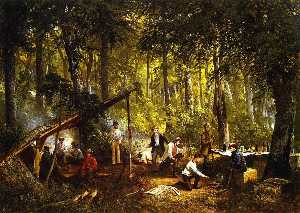 Frederick Rondel - A Hunting Party in the Woods (also known as In the Adiroondac )