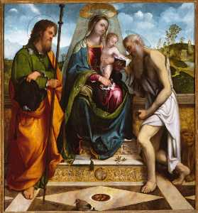 Gerolamo Romanino - Madonna and Child with Saints James Major and Jerome