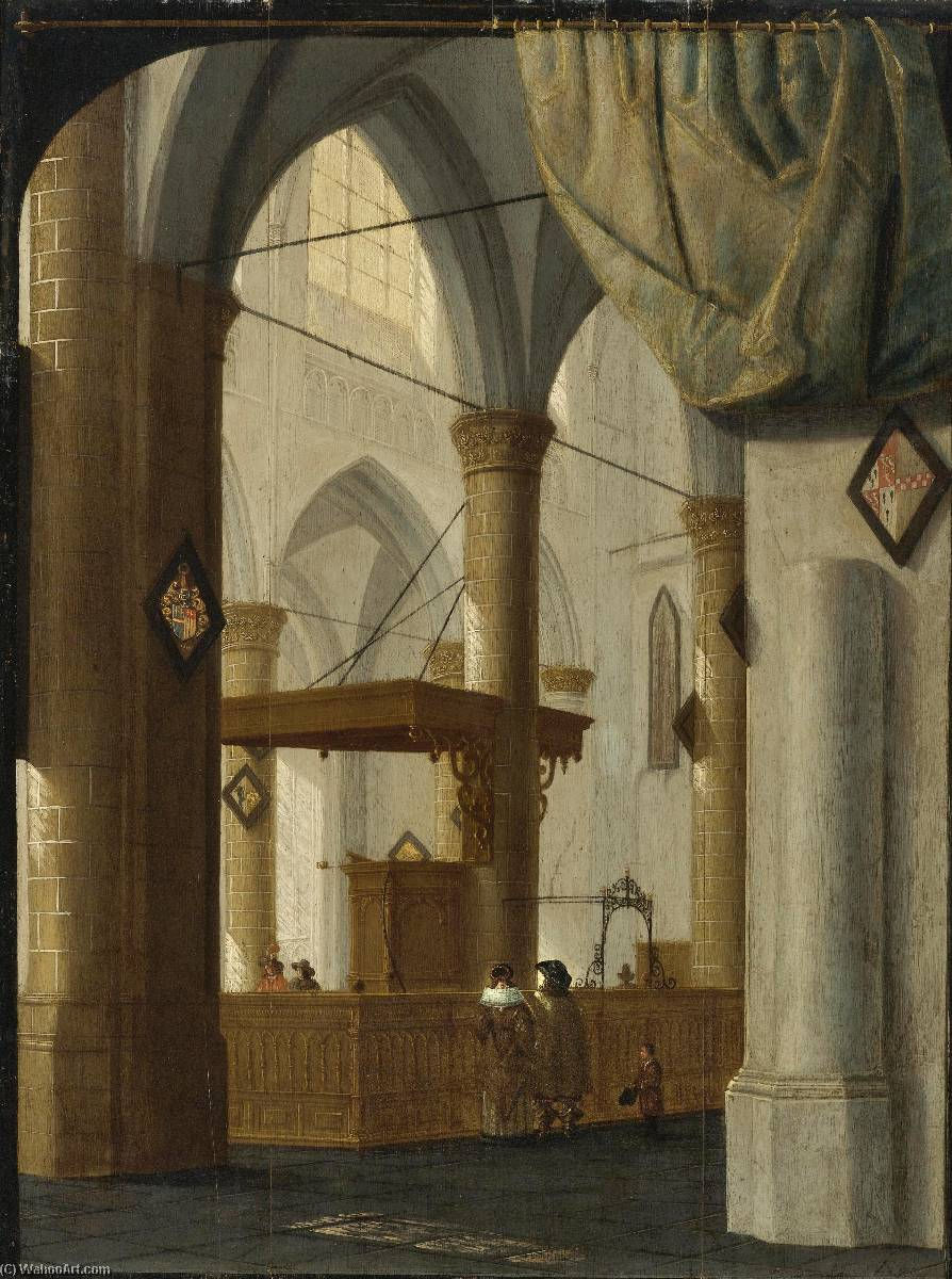 Interior of the Grote Kerk, Dordrecht with an Elegant Couple, a Trompe L'Oeil Curtain above, Set against a Feigned Black Frame, Oil On Panel by Daniel De Blieck
