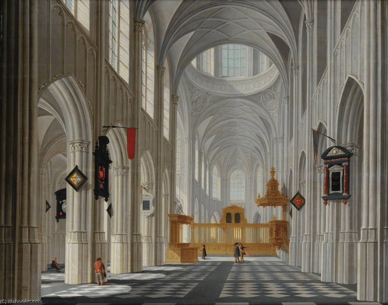 The interior of a gothic church, Oil On Panel by Daniel De Blieck
