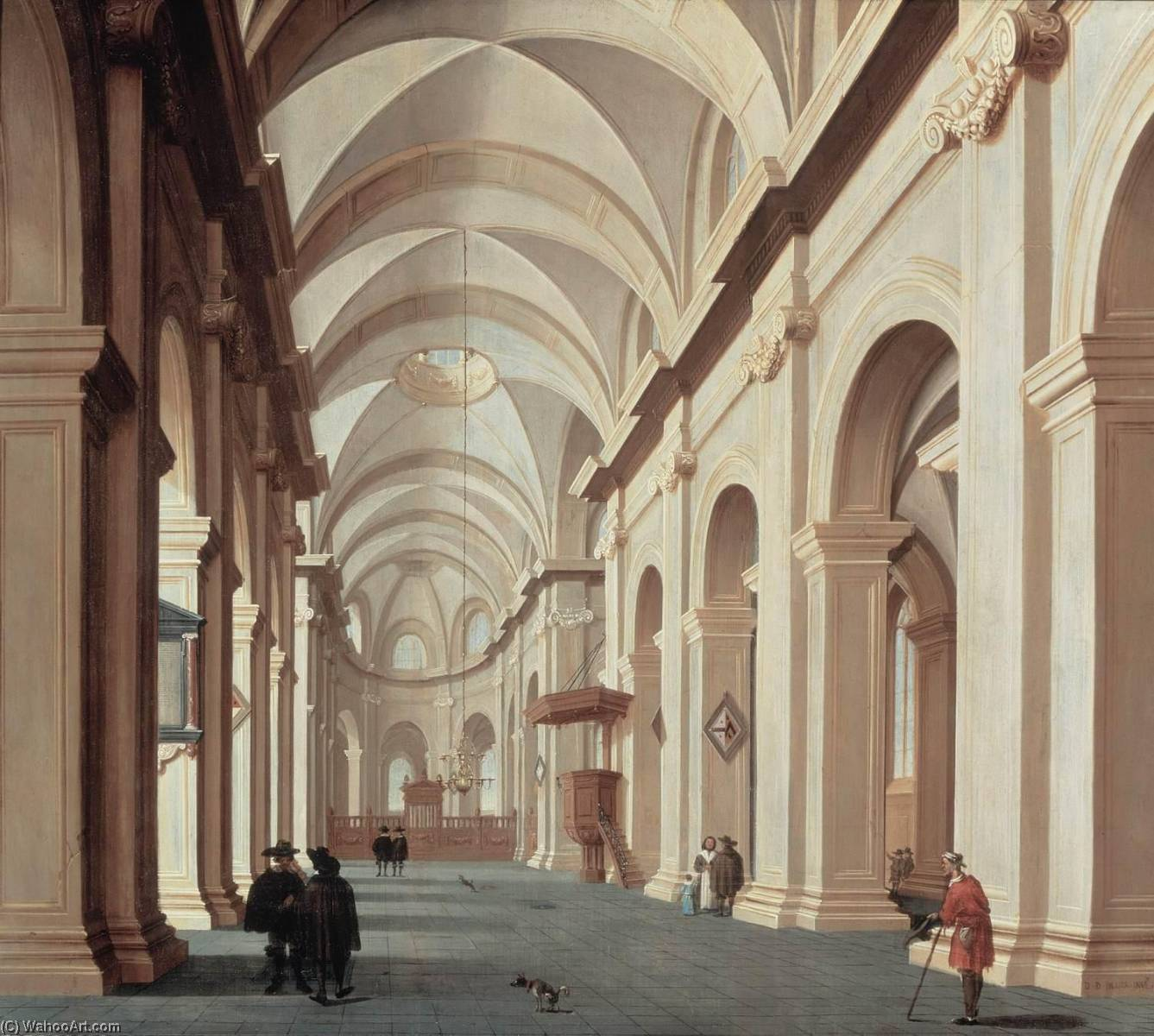 Church Interior, Oil On Panel by Daniel De Blieck