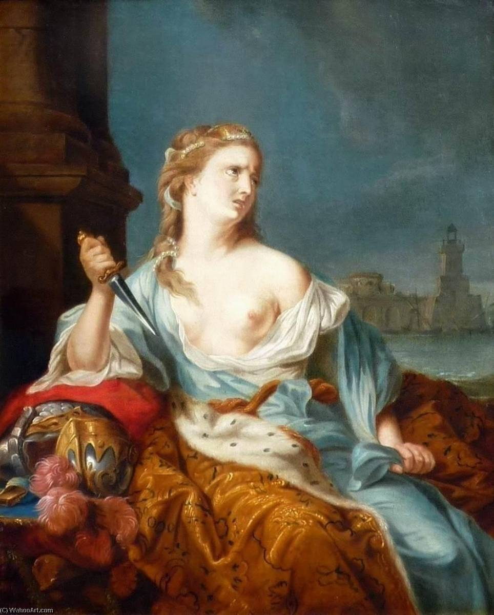 The Suicide of Queen Dido by Constantijn Netscher | Famous Paintings Reproductions | WahooArt.com
