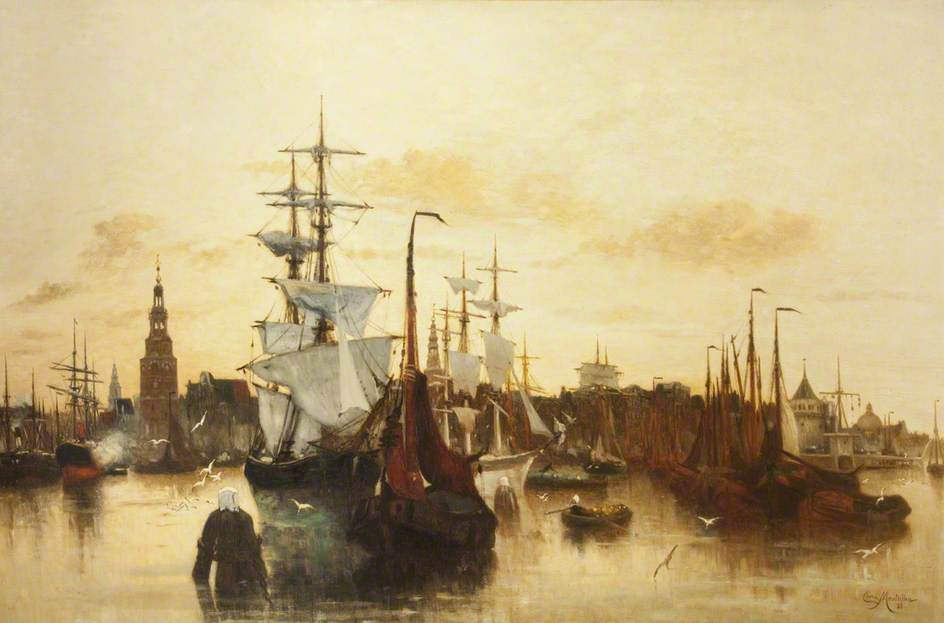The Port of Amsterdam, Oil On Canvas by Clara Montalba (1842-1929, United Kingdom)