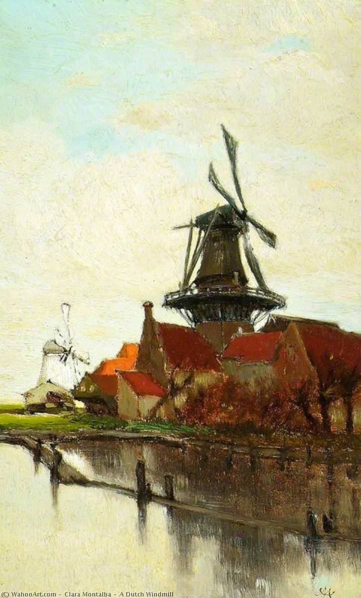 A Dutch Windmill, Oil On Panel by Clara Montalba (1842-1929, United Kingdom)