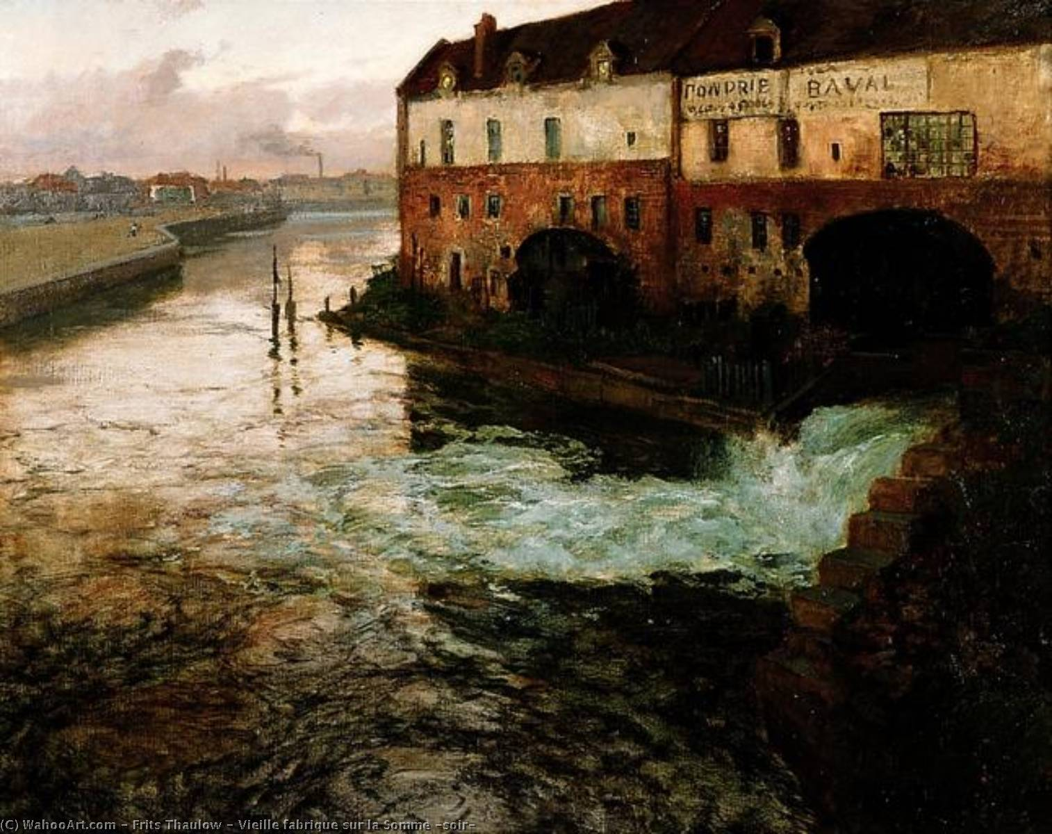 Vieille fabrique sur la Somme (soir) by Frits Thaulow (1847-1906, Norway) | Famous Paintings Reproductions | WahooArt.com
