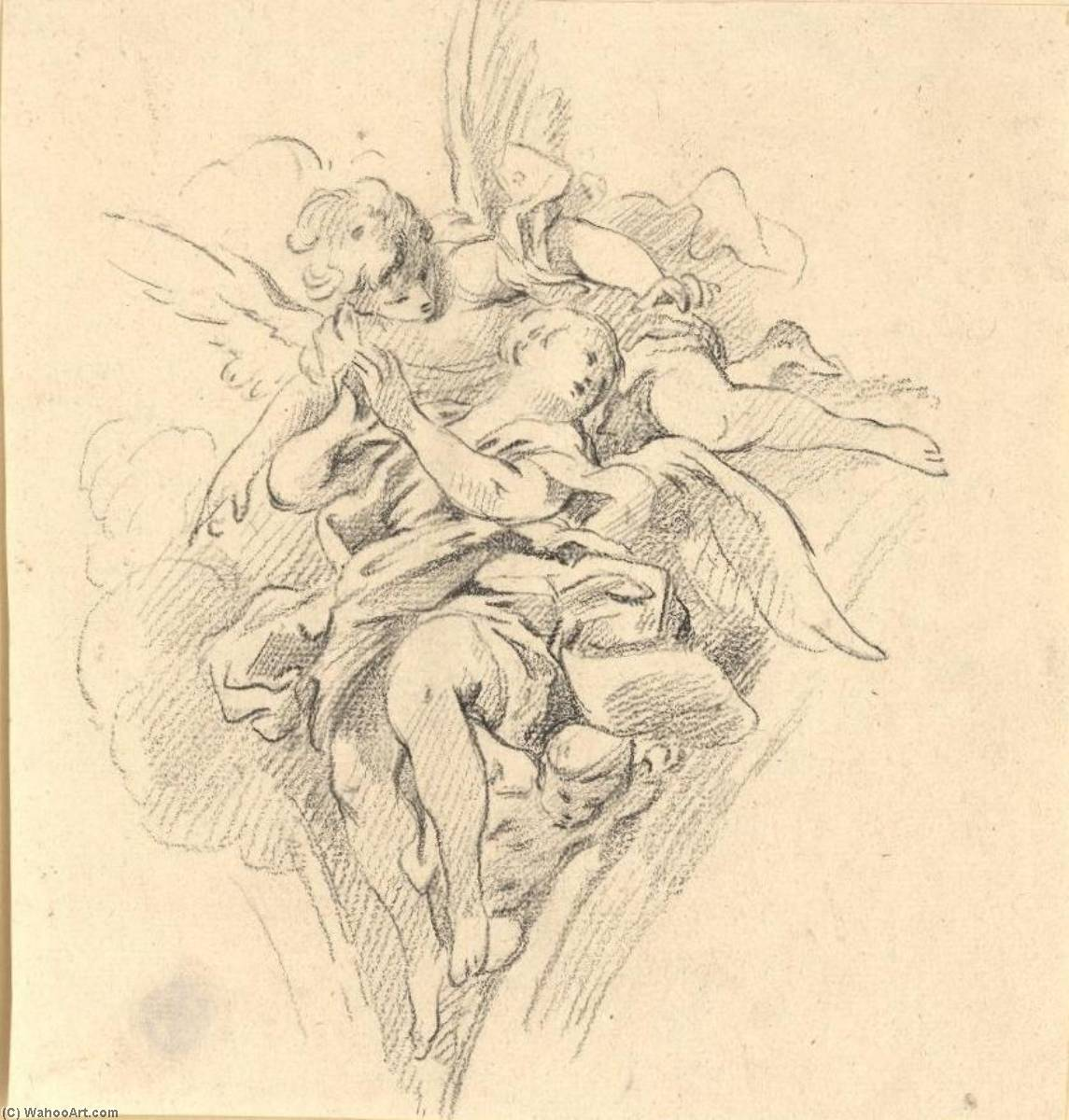 Group of Angels by Guillaume Thomas Taraval (1701-1750) | Famous Paintings Reproductions | WahooArt.com