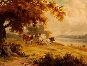 Henry George Todd - Landscape with Cattle