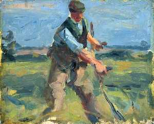 Harry Becker - A Man with a Scythe, Mowing