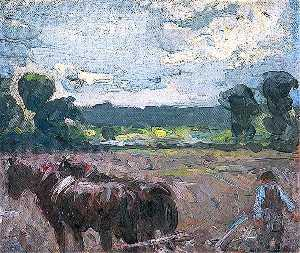 Harry Becker - Landscape with Horses Ploughing