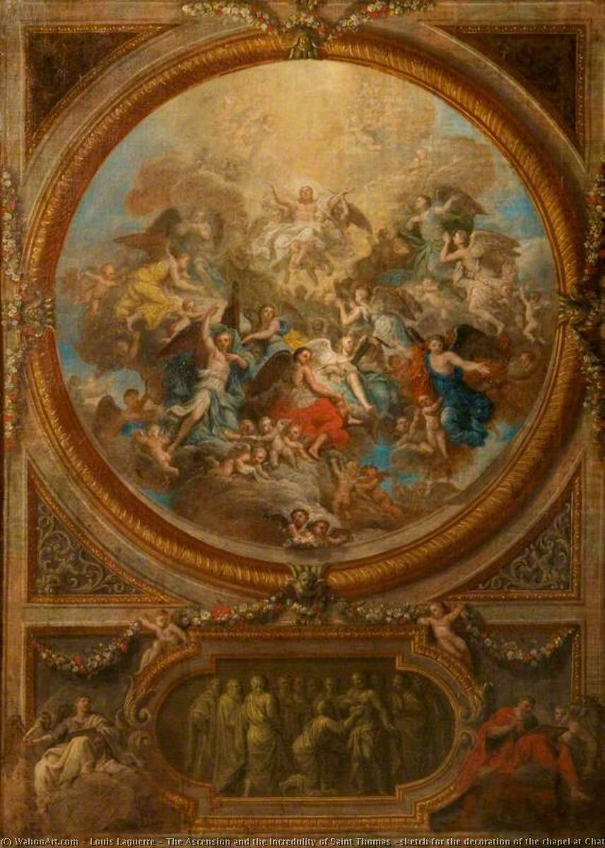 The Ascension and the Incredulity of Saint Thomas (sketch for the decoration of the chapel at Chatsworth), Oil On Canvas by Louis Laguerre (1663-1721)