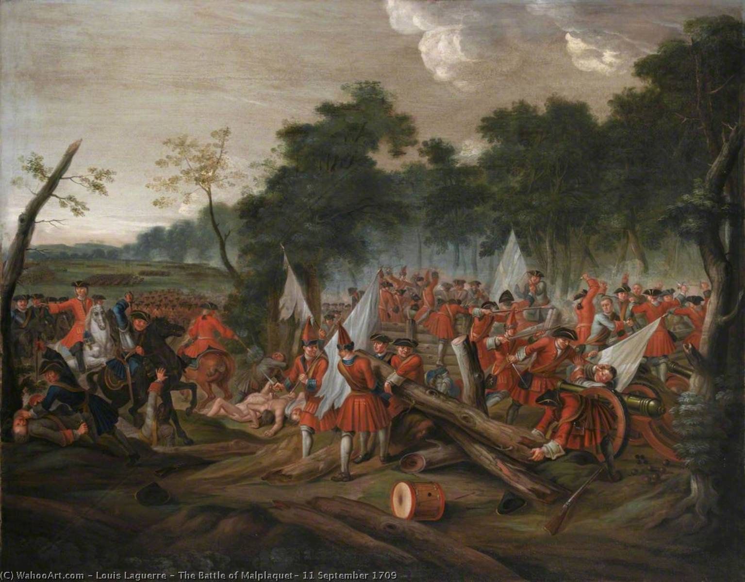 Buy Museum Art Reproductions | The Battle of Malplaquet, 11 September 1709, 1713 by Louis Laguerre (1663-1721) | WahooArt.com