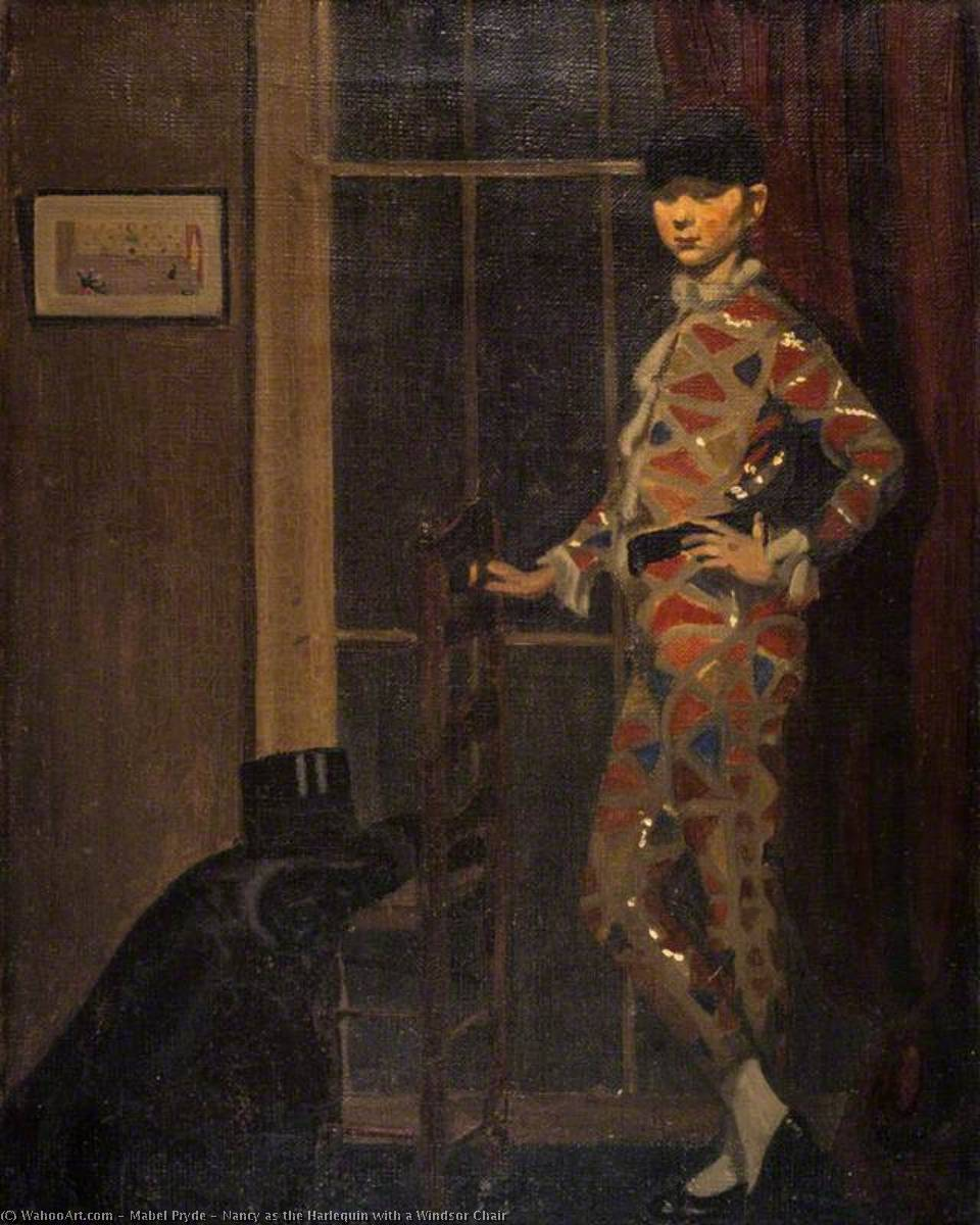 Nancy as the Harlequin with a Windsor Chair, Oil On Canvas by Mabel Pryde (1871-1918, Scotland)