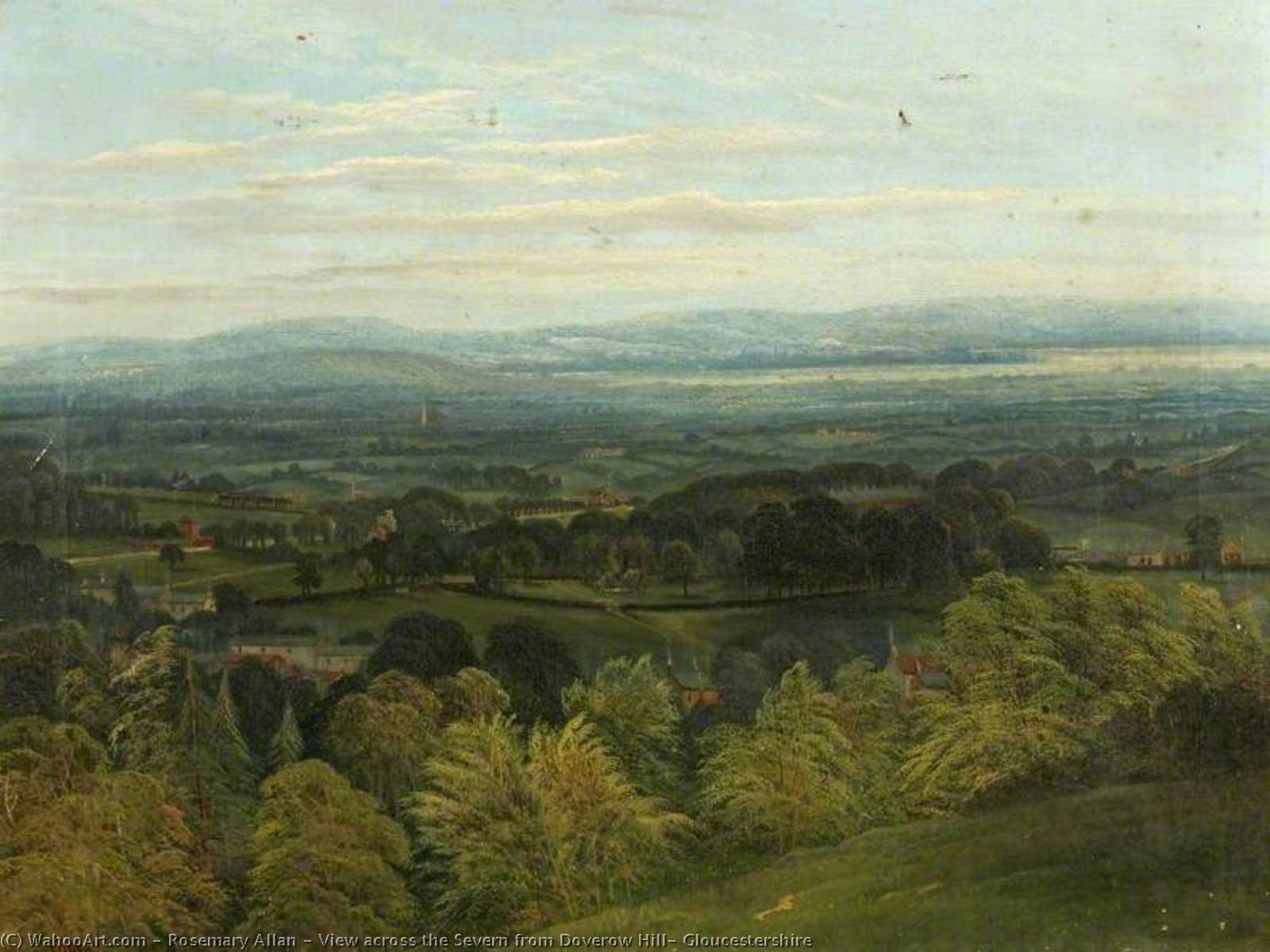 View across the Severn from Doverow Hill, Gloucestershire, Oil On Canvas by Rosemary Allan (1911-2008, United Kingdom)