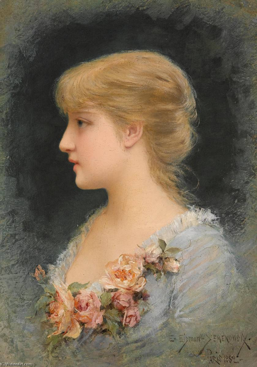 Portrait of a Girl, Oil by Emile Eisman Semenowsky (1859-1911)