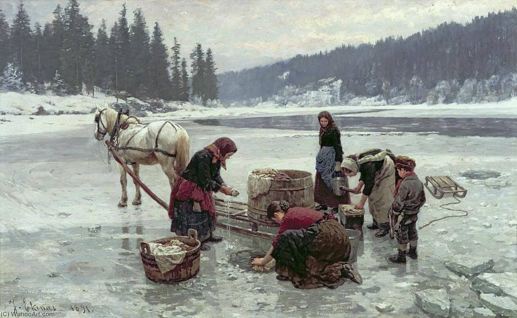 Buy Museum Art Reproductions | Women doing laundry through a hole in the ice, 1891 by Jahn Ekenæs | WahooArt.com