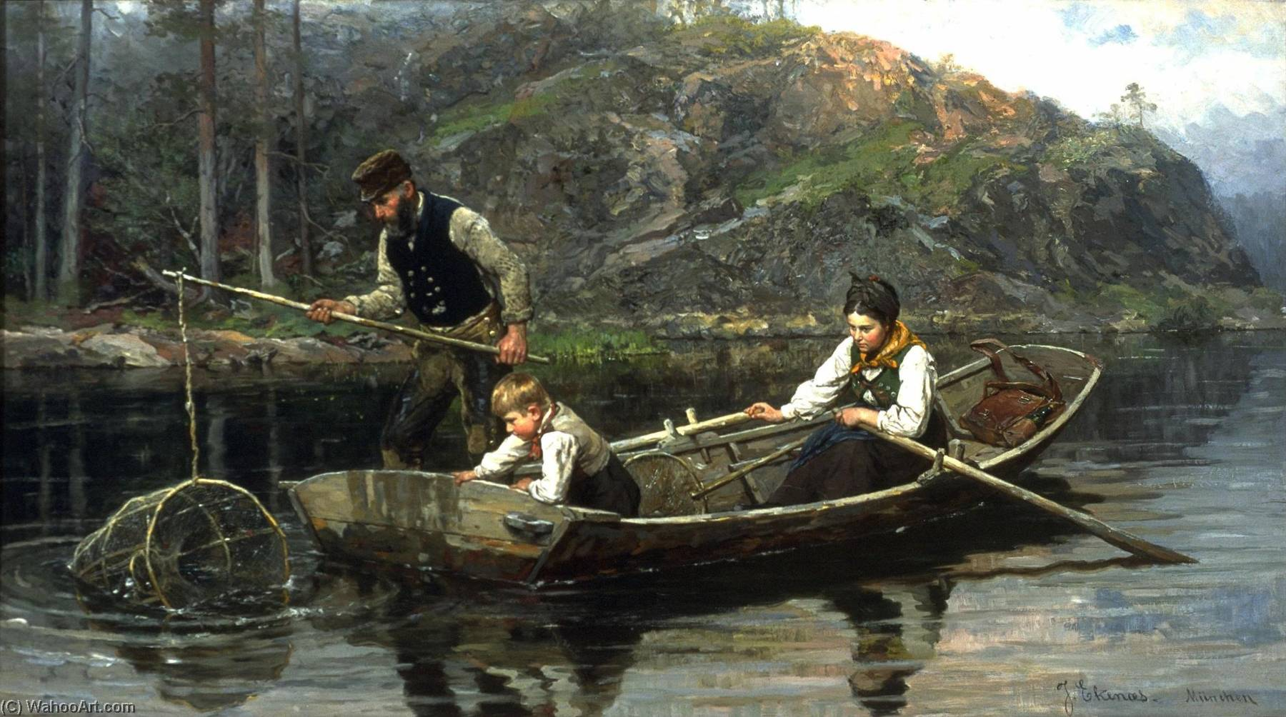 Order Paintings Reproductions | Peasants Fishing by Jahn Ekenæs | WahooArt.com
