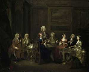 Order Art Reproductions | A Musical Party, the Mathias Family, 1730 by Gawen Hamilton (1698-1737) | WahooArt.com