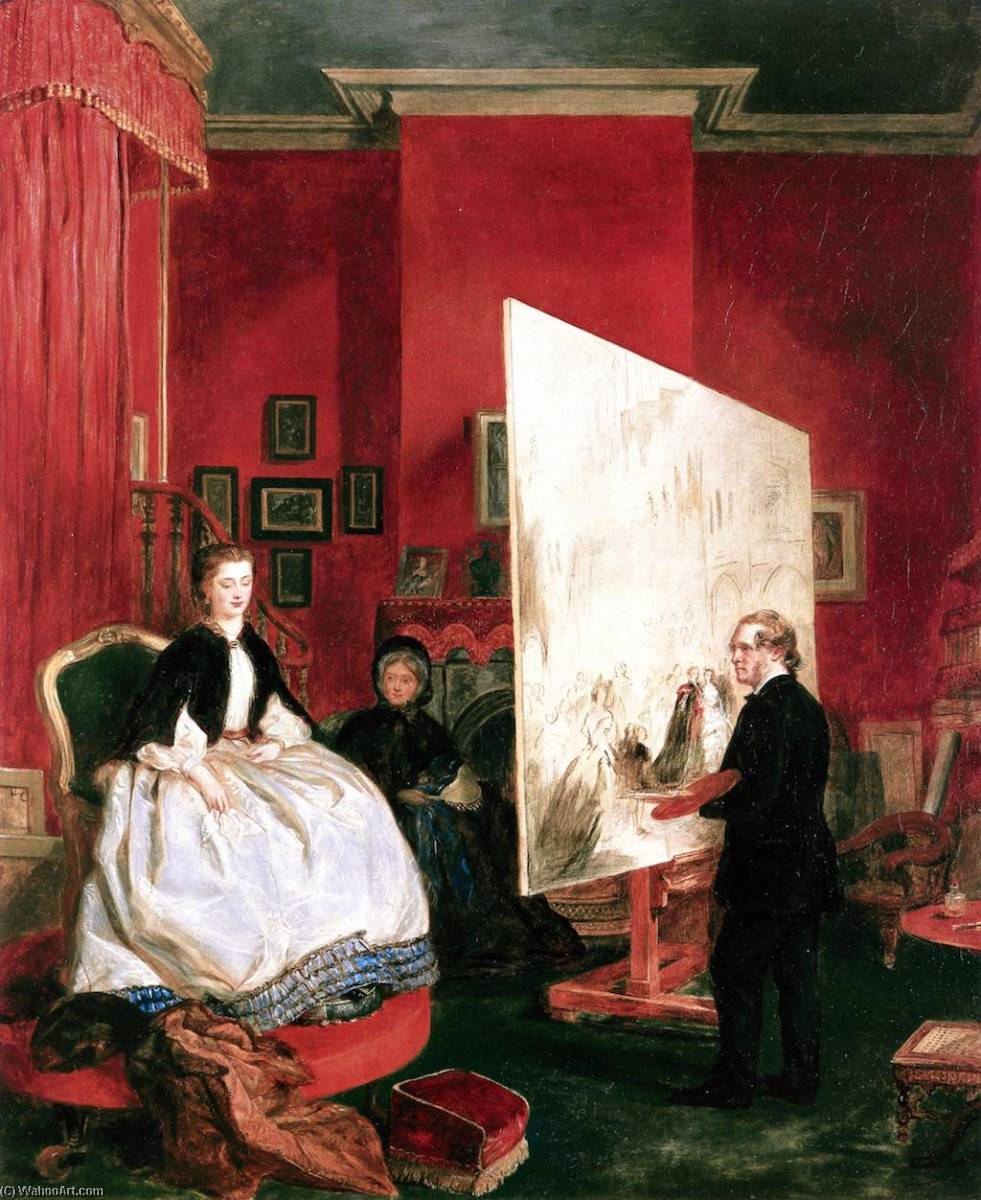 Frith in His Studio Painting Alexandra, Princess of Wales, for 'The Marriage of the Price of Wales', 1863 by John Ballantyne | WahooArt.com