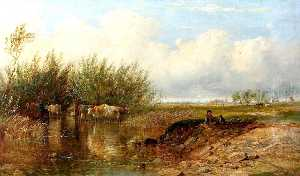 James Walsham Baldock - Landscape with a Boy and Cattle