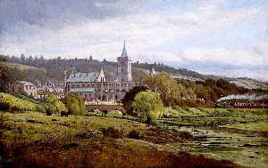 James M Robert Greenlees - Dunblane Cathedral from the North West with a Steam Train