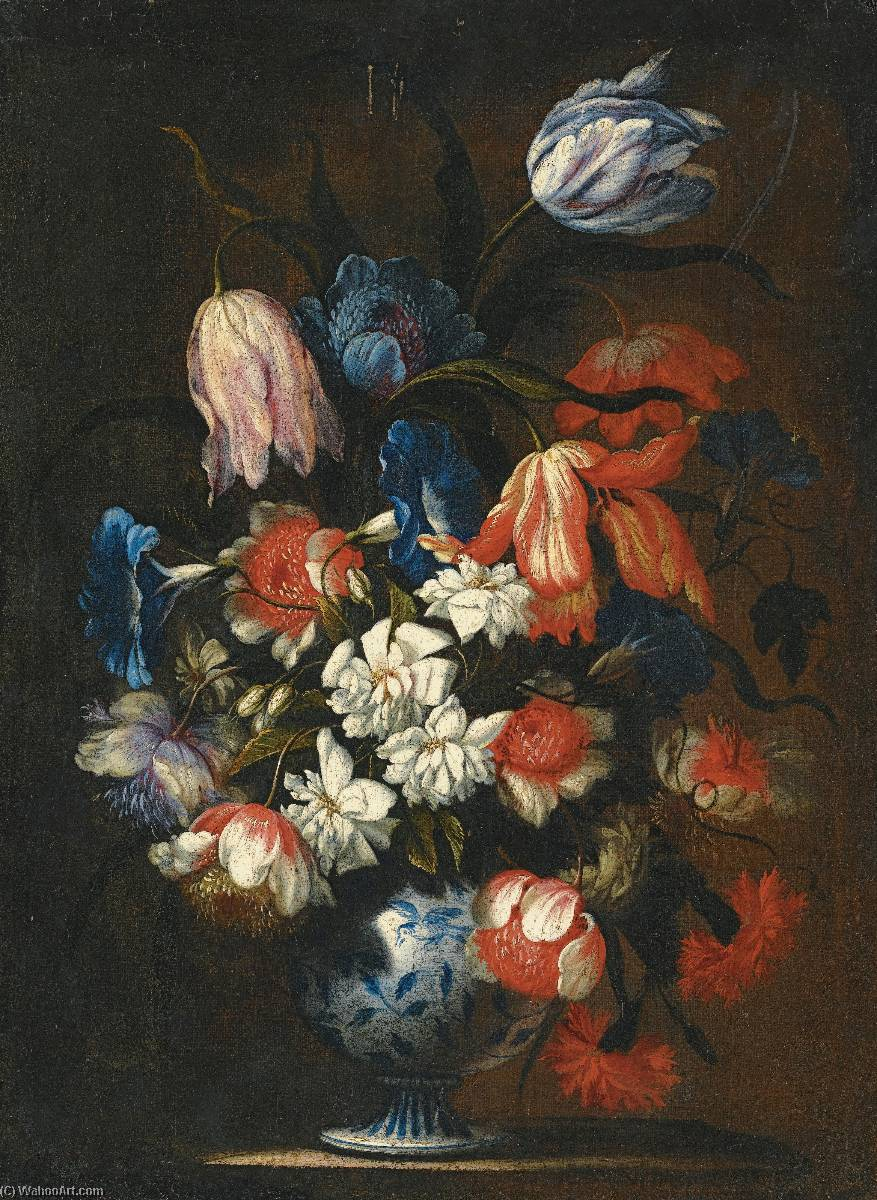 a Still life with tulips, carnations and other flowers in a blue and white porcelain vase, Oil On Canvas by Francesco Mantovano