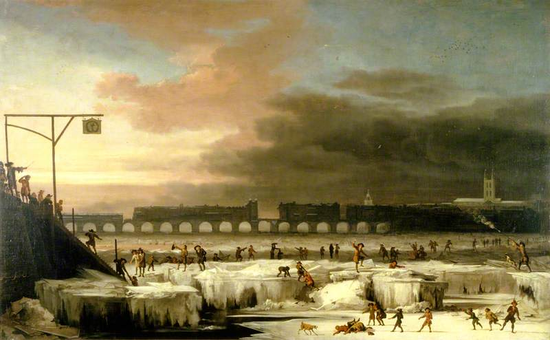 The Frozen Thames, Looking Eastwards towards Old London Bridge, London, 1677 by Abraham Hondius Danielsz (1631-1691) | Museum Quality Reproductions | WahooArt.com