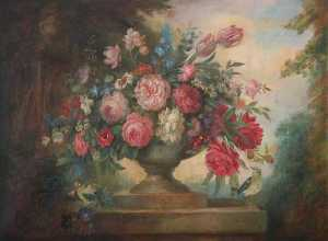 David Paton - Floral Still Life in an Urn, on a Plinth, with Birds