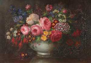 David Paton - English Summer Flowers in a Stone Vase on a Table
