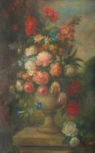 David Paton - Floral Still Life in an Urn, on a Plinth, in a Garden