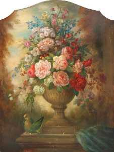 David Paton - Flowers in an Urn with a Bird (on a firescreen)