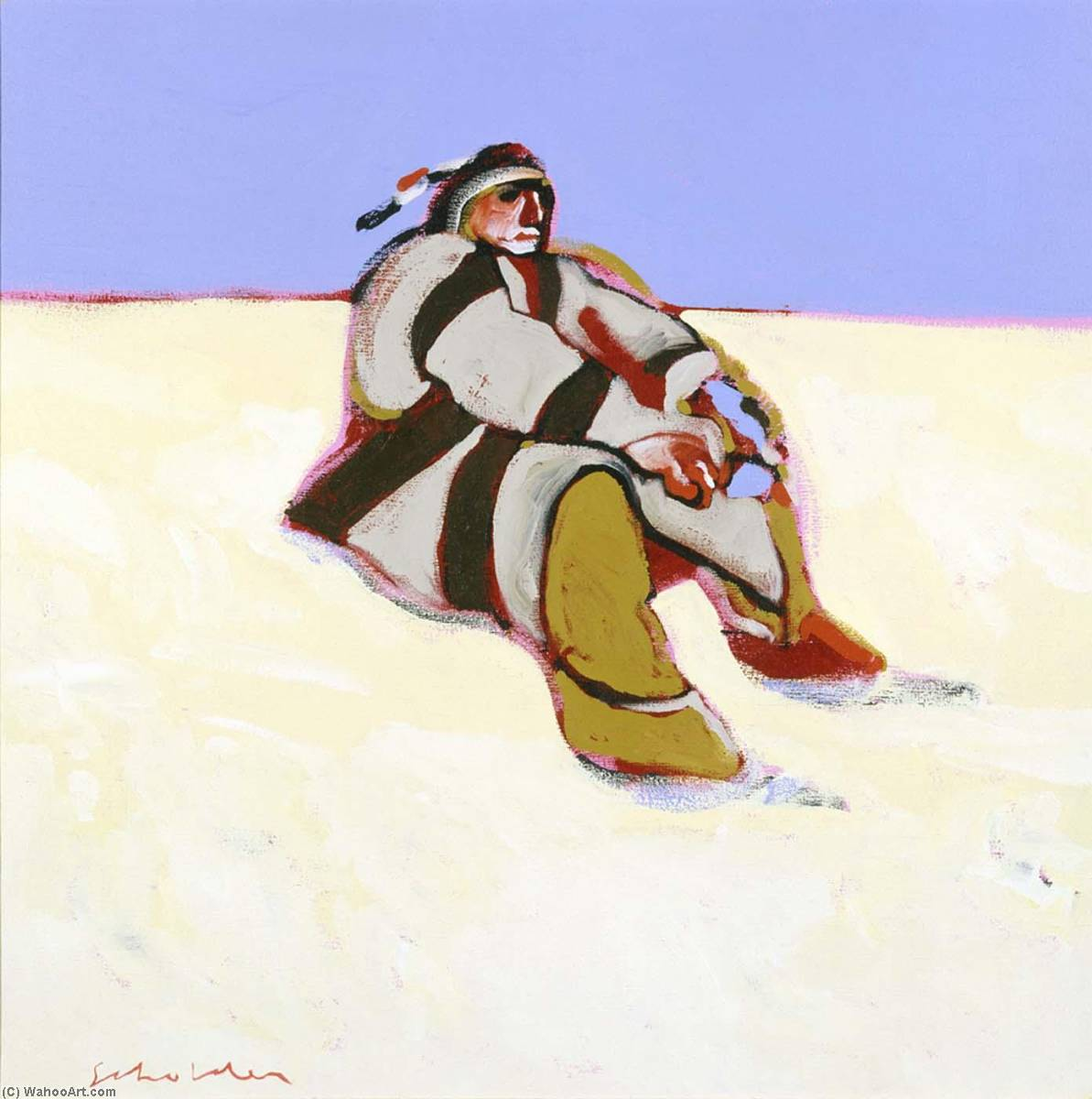 Indian in the Snow, 1972 by Fritz Scholder | Oil Painting | WahooArt.com
