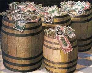 Victor Dubreuil - Barrels of Money, (painting)