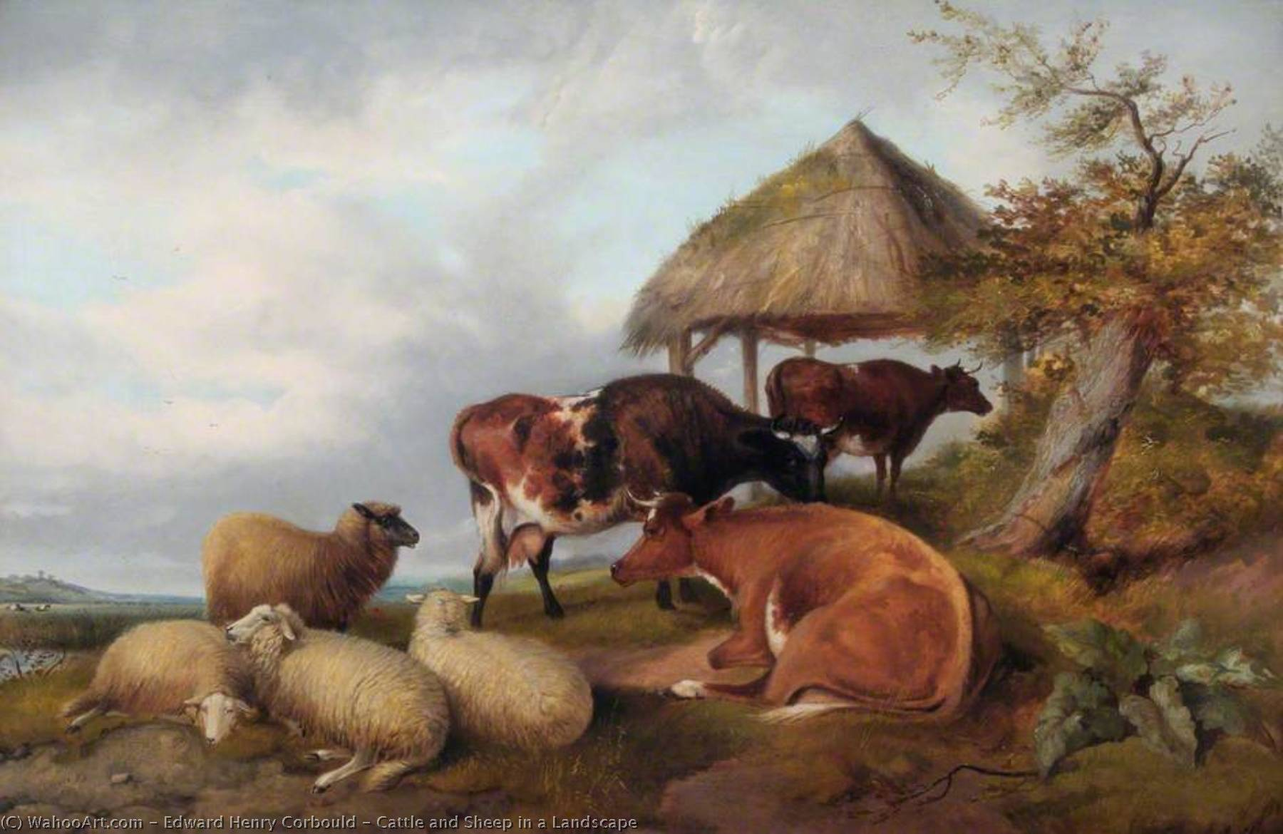 Buy Museum Art Reproductions | Cattle and Sheep in a Landscape by Edward Henry Corbould (1815-1905) | WahooArt.com
