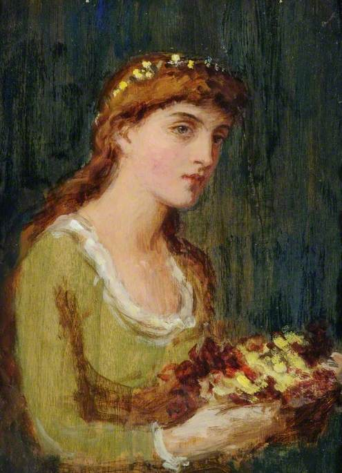 Portrait of a Lady with Flowers by Louisa Starr (1845-1909) | Art Reproduction | WahooArt.com