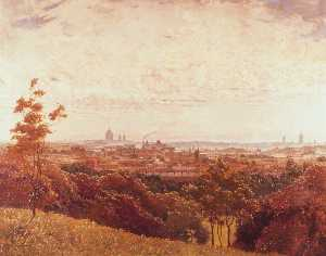 George F Carline - London from Parliament Hill, Hampstead