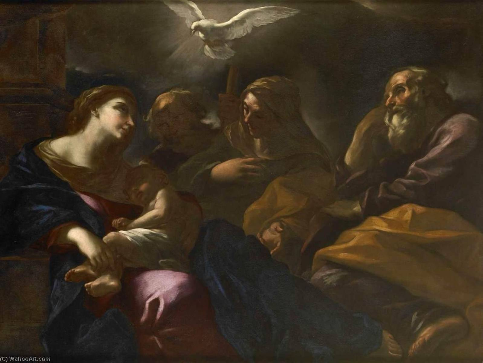 Order Reproductions | Holy Family with Sts Anne and Joachim, 1670 by Giovan Battista Beinaschi | WahooArt.com