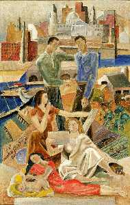 Marguerite Zorach - Commerce and Industry (mural study)