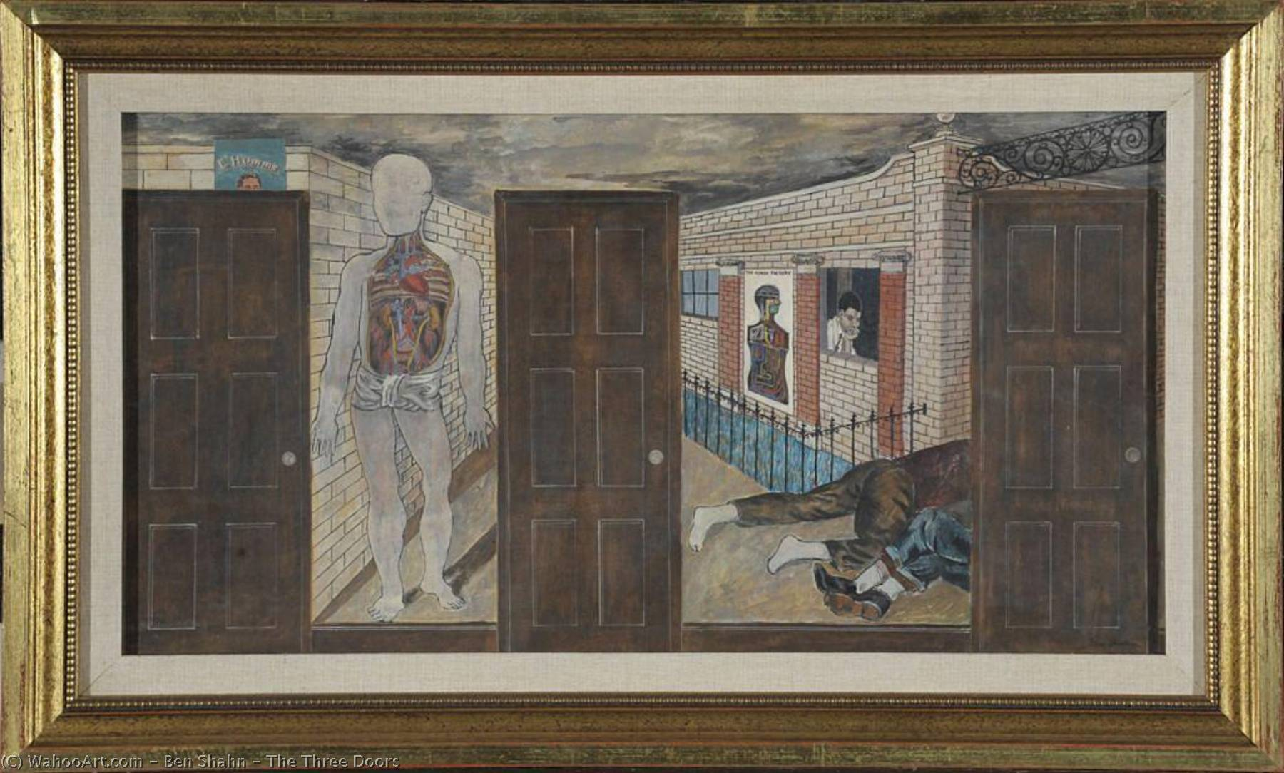The Three Doors, 1933 by Benjamin Shahn (1898-1969, Lithuania) | Famous Paintings Reproductions | WahooArt.com